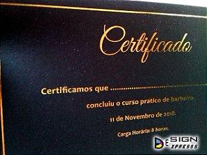 Certificado Diploma com Impressão em Hot Stamping  (Modelo 01)