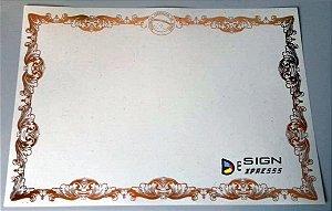 Papel Moeda A4 Bege - Certificado Bordas Douradas ou Prata (Modelo 03 )