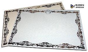 Papel Moeda A4 Azul - Certificado Bordas Douradas ou Prata (Modelo 04 )