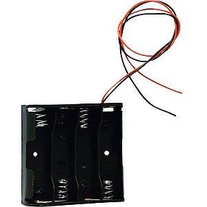 Suporte para 4 pilhas paralelas preto