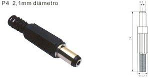 Plug P4 2.1mm com rabicho para arduino