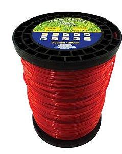 Fio de Nylon 3,00mm Redondo Rolo 248 Metros 2Kg Vermelho