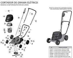 Peças de Reposição Cortador de Grama Eletrico Tramontina CE30P
