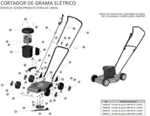 Peças de Reposição Cortador de Grama Eletrico Tramontina CE35M