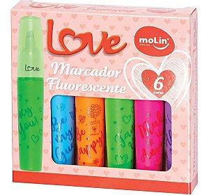 Caneta Marca Texto Love Heart Fluorescente 6 Cores