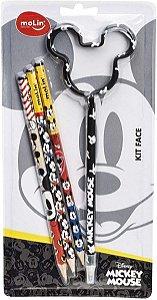 Kit Escolar Mickey 3 lápis + 1 caneta - Kit Molin