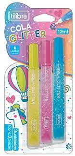 Cola Glitter 12ml Colorida Blister com 3 Unidades