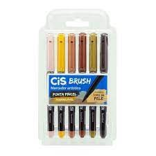 Caneta Brush Pen 6 Cores Tons de Pele Cis