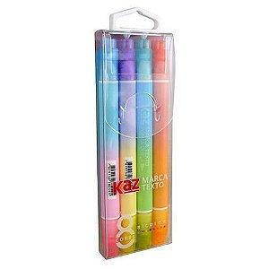 Marca texto Bicolor 8 cores 4 canetas