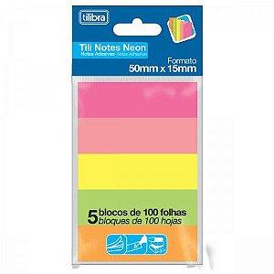 Bloco Adesivo Tili Notes Neon 50X15mm 500 folhas