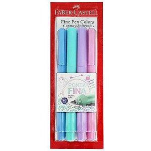 Caneta Fine Pen Tons Pastel 4 cores Faber Castell