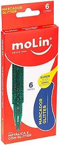 Marcador Glitter Molin 6 cores