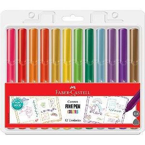 Caneta Hidrográfica Fine Pen Colors com 12 cores Faber-Castell