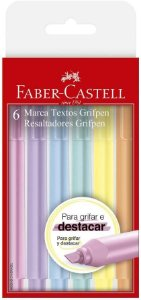 Caneta Marca Texto Faber-Castell Grifpen 6 Cores Tons Pastel