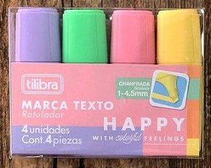 Marca-Texto Mini Happy - Blister com 4 Unidades