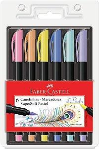 Caneta Ponta Pincel Faber-Castell Supersoft Brush 6 Cores Pastel