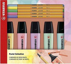 Stabilo Kit 5 Marcadores de Texto Boss e 5 Canetas Point 88 Tons Pastel