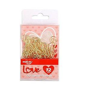 Clips Flamingo Dourado 25mm Molin Caixa com 12