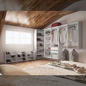 Closet Completo (06) em L com Sapateiras, Prateleiras, Gavetas, Cabideiros