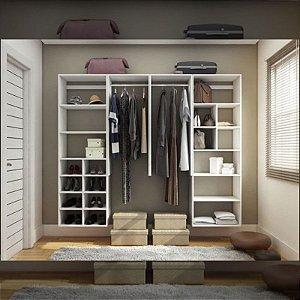 Closet Completo (07) Linear com Cabideiros, Prateleiras e Nichos