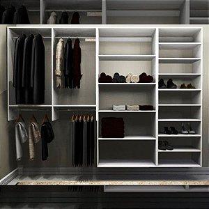 Closet Completo (09) com Cabideiros, Prateleiras e Sapateira