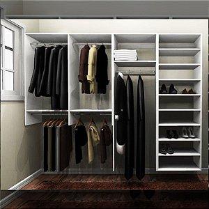Closet Completo (21) Linear com Cabideiros, Gavetas e Prateleiras
