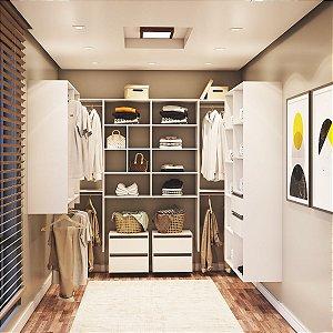 Closet Completo (15) em U com Cabideiros, Gaveteiro, Prateleiras e Nichos