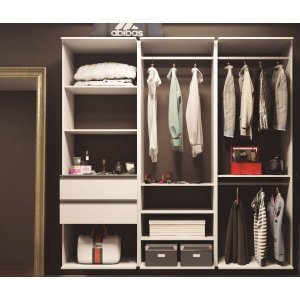 Closet Completo - Linear Com 03 Cabideiro, 02 Gavetas e 9 Prateleiras  - Supercloset