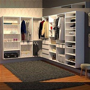 Closet Completo (174) em L com Prateleiras, Gaveteiros, Nichos, Sapateira e Cabideiros