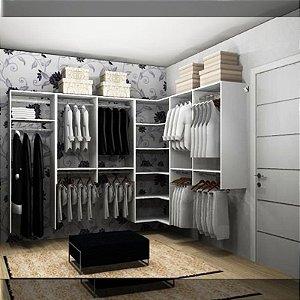 Closet Completo (41) em L com Cabideiros e Prateleiras