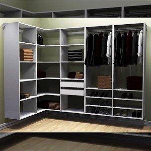 Closet Completo (41) em L com Cabideiros, Gavetas e Prateleiras