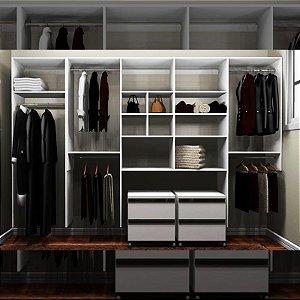 Closet Completo (44) - Linear com Cabideiros, Nichos, Prateleiras e Gaveteiros