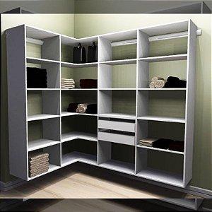 Closet Completo (45) em L com Prateleiras e Gavetas
