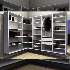 Closet Completo (47) em L com Cabideiro, Gavetas, Sapateira e Prateleiras