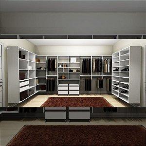 Closet Completo (50) em U com Cabideiros, Sapateiras, Gavetas e Prateleiras
