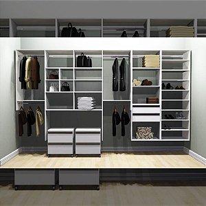 Closet Completo (51) Linear com Cabideiros, Sapateiro e Gavetas