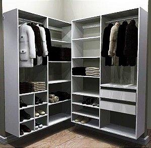 Closet Completo (52) em L com Cabideiros, Gavetas e Nichos