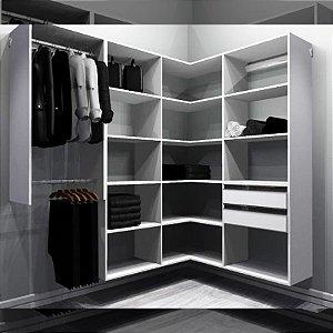 Closet Completo (54) em L com Cabideiro, Gavetas e Prateleiras