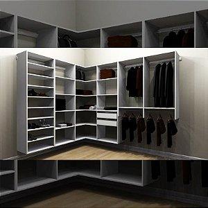 Closet Completo (56) em L com Cabideiros, Gavetas, Prateleiras e Sapateiro