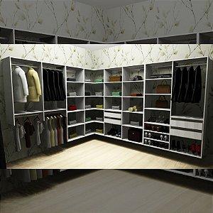 Closet Completo (59) em L com Cabideiros, Gavetas e Prateleiras
