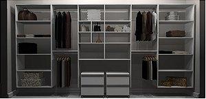 Closet Completo - Linear 060 Com 4 Cabideiros, 2 Gaveteiros e Prateleiras - Supercloset