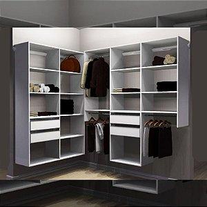Closet Completo (65) em L 065 com Cabideiros, Gavetas e Prateleiras