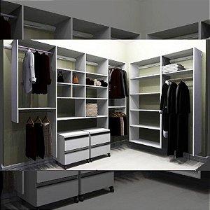 Closet Completo (70) em L com Cabideiros, Gaveteiros e Prateleiras