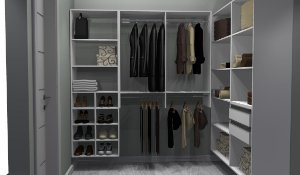 Closet Completo - Em L 071 Com 4 Cabideiros, 2 Gavetas, Nichos e Prateleiras - Supercloset