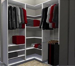 Closet Completo - Em L 072 Com 03 Cabideiros e Prateleiras - Supercloset