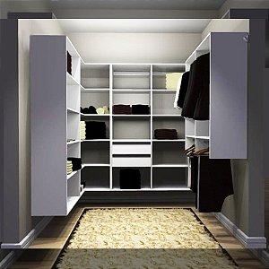 Closet Completo (73) em U com Cabideiros, Gavetas e Prateleiras