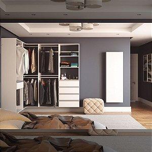 Closet Completo (180) em L com Cabideiros, Prateleiras e Porta Joias