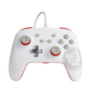 Controle PowerA Nintendo Switch Com Fio - Mario White