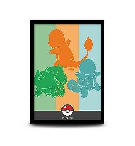 Quadro Pokémon Iniciais Kanto - 32,5 x 43cm