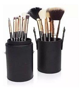 Kit c/ 10 Pincéis de Maquiagem + Case Copo em Couro Vivai